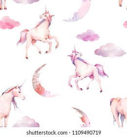 Watercolor unicorn, clouds and moon seamless pattern. Hand painted fairytale texture on white background. Cartoon baby wallpaper design