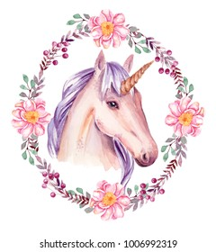 watercolor unicorn with floral frame