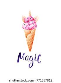 Watercolor unicorn ice cream card. Unicorns are real. For design, print or background.