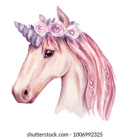 Watercolor unicorn illustration