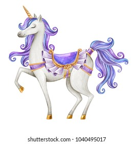 watercolor unicorn illustration, fairy tale creature, purple blue curly hair, mythical animal clip art, isolated on white background