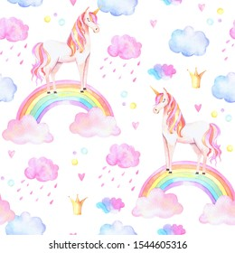 Watercolor unicorns pattern with rainbows and clouds. Cute watercolor texture
