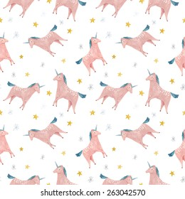 watercolor unicorns - seamless pattern. Unicorn pattern