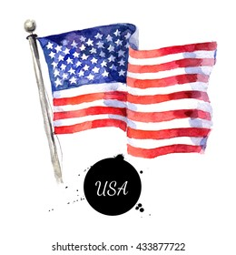 Watercolor USA flag. Hand drawn illustration. Flag of America on white background. Holiday 4 july Independence Day
