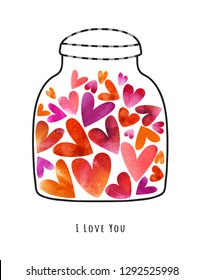 Watercolor Valentines card with hearts