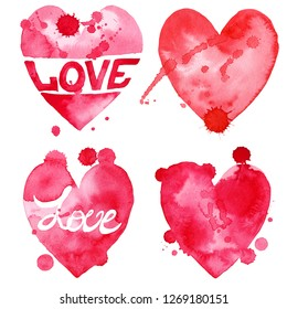 Watercolor Valentine's Day Clipart. Wedding clipart, Love Clipart, Scrapbooking clipart.