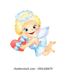 Watercolor Valentine's day illustration with cute angel cupid