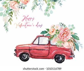 Watercolor Valentine's Day illustration with red car & flower floral bouquet and corner / frame / border composition. Romance, romantic events, love card, wedding invitation, colorful auto, hand drawn