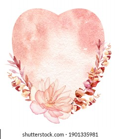 Watercolor valentines frame, wreath for wedding invitation or greeting card design. Heart shape
