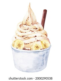 Watercolor vanilla frozen yoghurt in cup on white background. Watercolour froyo food illustration.