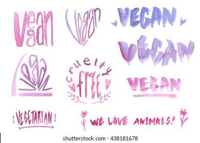Watercolor vegan logos set. Pink and purple, different styles. Vegan, Cruelty free, Vegetarian, We love animals.