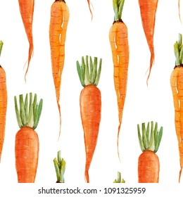 Watercolor vegetable carrot pattern, juicy fresh print