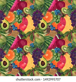Watercolor Vegetable and fruit for clean eating healthy style seamless pattern set hand painted illustration gouache for backdrop background invitation card