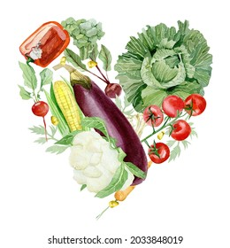 Watercolor vegetable love hearts composition. Farmer's market. Round composition of farm products Fresh organic food for printing on local poster, brunch and lunch invitation template, flyer.