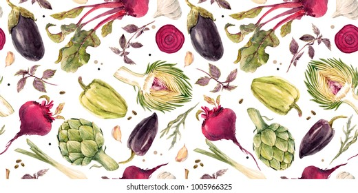 Watercolor vegetable pattern, beets, onions, garlic, artichoke, eggplant and pepper. Bright colorful horizontal banner