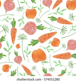Watercolor vegetable pattern with orange carrot and apple pink beetroot and green leaves on white background
