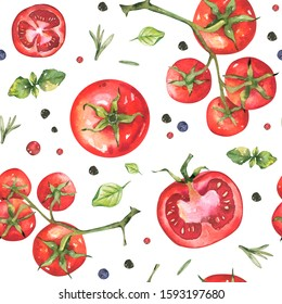 Watercolor vegetables pattern. Hand painted organic fresh eco food illustration.