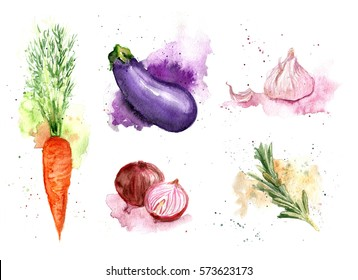 Watercolor vegetables set isolated on white background