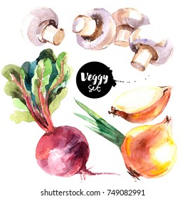 Watercolor vegetables set. Painted isolated natural organic fresh eco food illustration on white background. Veggies design of mushrooms, beets, onions