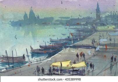 watercolor Venice panorama illustration