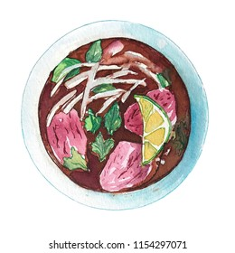 Watercolor vietnamese beef soup pho isolated on white background, top view. Hand drawn bowl of delicious hot fresh asian soup. Painting of tasty vietnamese meat soup pho.