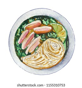 Watercolor vietnamese chicken soup pho isolated on white background, top view. Hand drawn bowl of delicious hot fresh asian soup. Painting of tasty vietnamese meat soup pho.