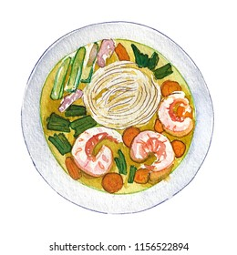 Watercolor vietnamese shrimp soup pho isolated on white background, top view. Hand drawn bowl of delicious hot fresh asian soup. Painting of tasty vietnamese prawns soup pho, view above.