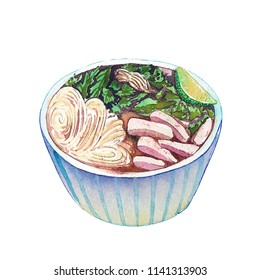Watercolor vietnamese soup pho isolated on white background. Hand drawn bowl of delicious hot fresh asian soup. Painting of tasty vietnamese soup pho.
