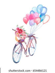 Watercolor vintage bicycle with bouquet of flowers and air balloons. Hand painted retro design. Summer creative illustration