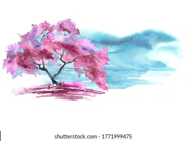 Watercolor vintage bush, a tree. pink, red silhouette of trees. illustration. Watercolor cherry blossom. Hand draw cherry blossom sakura branch and flowers. landscape, forest. card, invitation