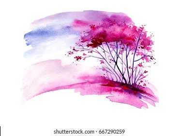 Watercolor vintage bush, a tree in pink, lilac, purple color. Abstract spots, shore, sky, watercolor landscape. Beautiful greeting card, logo, card, illustration