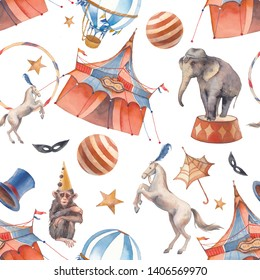 Watercolor vintage circus seamless pattern. Hand drawn retro wallpaper design with tent, hot air balloons, trained animals and bunting flags.