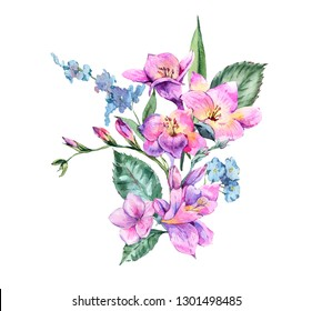 Watercolor Vintage Floral Bouquet of Blooming Freesia and Garden Flowers, Botanical Natural Illustration Isolated on White Background