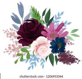 Watercolor vintage floral composition Pink and blue Floral Bouquet Flowers and Feathers Isolated