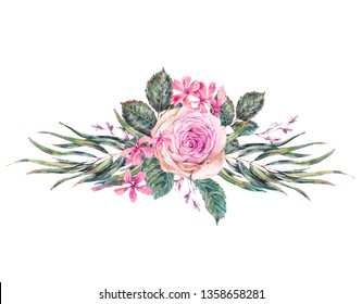 Watercolor vintage floral greeting card with pink roses and wildflowers. Natural botanical illustration  isolated on white background