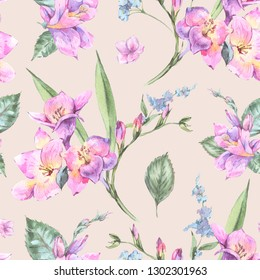 Watercolor Vintage Floral Seamless Pattern of Blooming Freesia and Garden Flowers, Botanical Natural Illustration Isolated on Beige Background