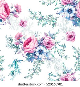 Watercolor vintage floral seamless pattern. Hand painted repeating texture with bouquets of flowers on white background: peony, roses, anemone, eucalyptus, leaves, berries and branches.