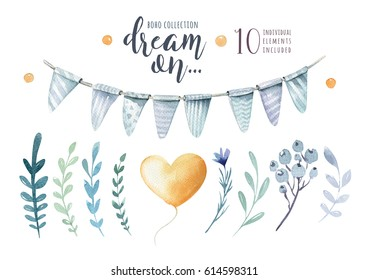 Watercolor vintage floral set. Boho spring flowers and leaf  isolated on white background: branches, leaves, feathers, berries. Hand painted natural design