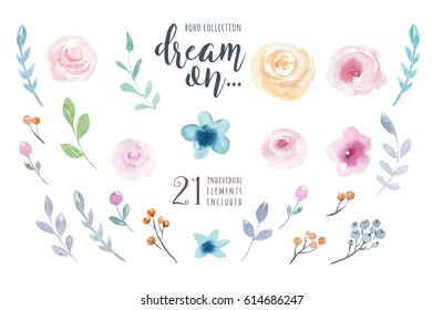 Watercolor vintage floral set. Boho spring flowers and leaf  frame isolated on white background: succulent, branches, leaves, feathers, berries, peony, rose. Hand painted natural design
