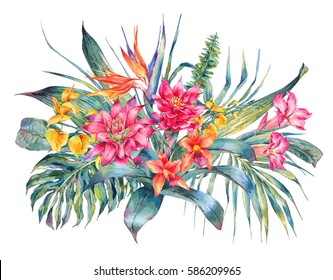 Watercolor vintage floral tropical greeting card. Exotic flowers, Bird of Paradise, ferns, twigs and leaves. Botanical bright classic illustration isolated on white background.