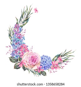 Watercolor vintage floral wreath with roses, lilac, blue hydrangea and wildflowers. Greeting card, natural botanical illustration isolated on white background