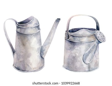 Watercolor vintage gardening tools rusty tin watering can for watering flowers. Hand drawn isolated illustration on white background. Flower bouquets