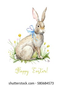 Watercolor Vintage greeting card. bunny sitting in flowers. Happy easter