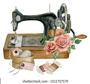 Watercolor vintage illustration of sewing studio equipment