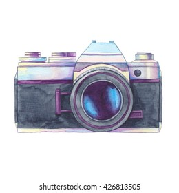 Watercolor vintage photo camera on white background. Retro film camera. Passion for photography. Watercolor illustration, clip art perfect for logo, invitation, brochure