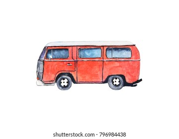 watercolor vintage retro van, isolated on white background