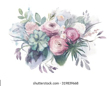 Watercolor Vintage and rustic wedding style bouquet.  Hand painted floral posy with anemone, succulent, roses, ranunculus, leaves, herbs and branches. Illustration isolated on white background