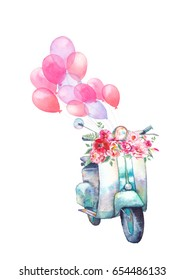 Watercolor vintage scooter with bouquet of flowers and air balloons. Hand painted retro design. Summer creative illustration