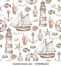 Watercolor vintage sea pattern.Old ship, lifebuoy, lighthouse, bottle, seagull, fish, anchor, shell.Ocean wallpaper,monochrome colors