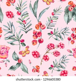 Watercolor Vintage Seamless Pattern with Berries, Wildflowers, Blackberry and Butterflies. Natural Floral Illustratio on Pink Background, Summer Flowers